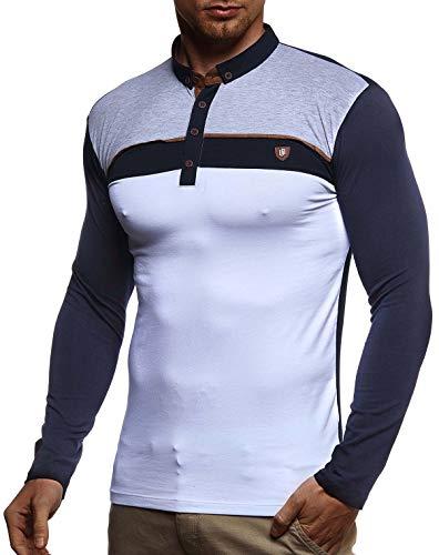 LEIF NELSON Herren Polo-Shirt Langarmshirt Slim Fit Baumwolle-Anteil | Basic Männer Longsleeve Pulli weißes Sweatshirt Poloshirt | Pullover T-Shirt Langarm | LN4805 Dunkel Blau X-Large - Jungen Langarm-polo-shirt