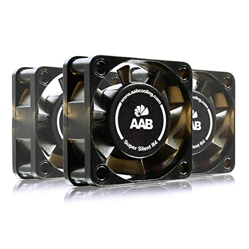 AAB Cooling Super Silent R4 - Leise und Efizient 40mm Gehäuselüfter mit 4 Anti-Vibration-Pads und 9V Spannungsreduzierer - PC Ventilator, Cooling Fan, Kühler, Ventilator - Wertpaket 3 Stück