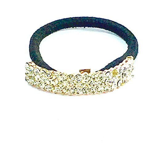 mit Kristall Pferdeschwanz gebogen Ring Halter Hair Wrap schwarz Elastic Manschette Dance