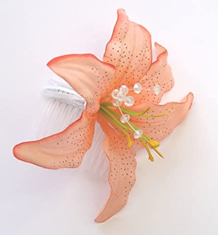 LARGE PEACH / PINK LILLY FLOWER AND DIAMONTIES FASINATOR HAIR SLIDE COMB Weddings Races Party