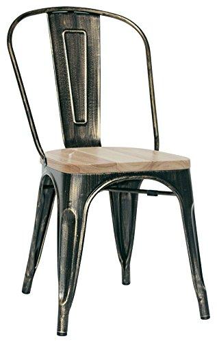 Brianza Outlet Kristine Sedia di Design, Stile Industriale, Metallo, Marrone, 36 x 36 x 85 cm