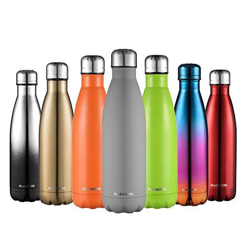 CMXING Doppelwandige Thermosflasche 500 mL mit Tasche BPA-Frei Edelstahl Trinkflasche Vakuum Isolierflasche Sportflasche für Outdoor-Sport Camping Mountainbike (Grau, 500 mL)