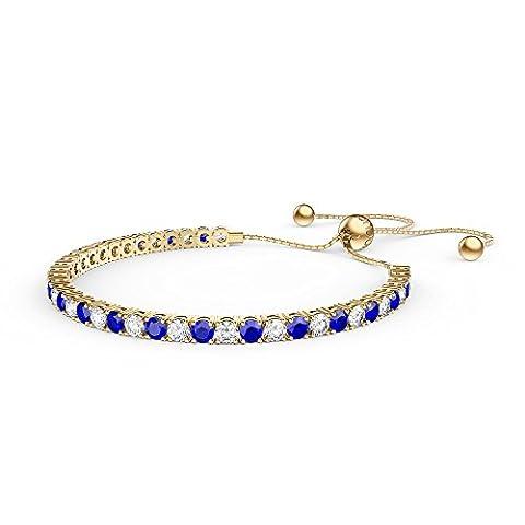 Ewigkeit Saphir und Diamant CZ 18ct vergoldet Silber Fidschi Freundschaft Tennis Armband