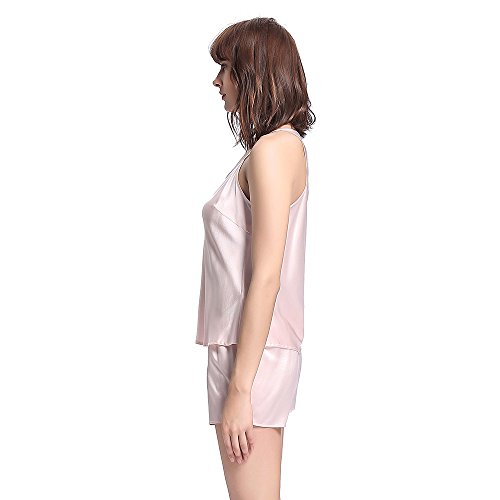 LILYSILK Pyjama Short Femme Soie Débardeur + Short 100% Soie 22 Momme Rose Clair
