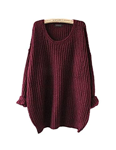 ARJOSA Women's Cable Knit Crewneck Loose Fit Casual Pullovers Sweater (M / L, #1 Wine Red)
