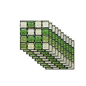 Fliesen Folie Aufkleber Sticker für Küche u. Bad Küchendeko Serria® 10 STÜCKE Selbstklebende Badezimmer Küche Dekor Hause Wand 3D Fliesen Aufkleber (C, 100 * 100mm)