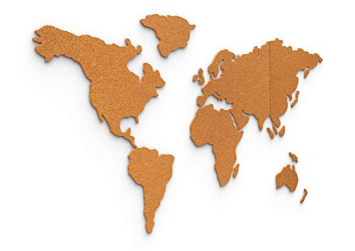 Kork-Weltkarte 140x70 cm - selbstklebende Pinnwand aus robustem 6mm dicken Kork - 3d Wandtattoo Weltkarte - von Davom... (XXL)