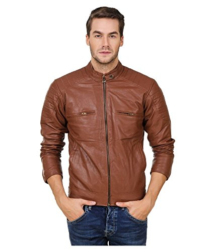 Leather Retail Men's Faux Leather Jacket(Lr0203_Brown_Large)