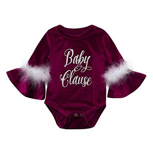 g,BeautyTop Kleinkind Neugeborenen Baby Mädchen Brief Print Strampler Overall Feder Kleidung (Weinrot, 80/3-6 Monate) (Halloween-kostüme Für Kleinkinder 2017)