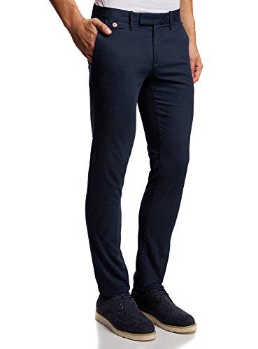 oodji Ultra Hombre Pantalones Chinos de Algodón, Azul, ES 42 (M)