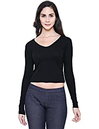 COA Womens Organic Cotton BlackBerry Solid Black Crop Top for Women with Full Sleeves and V- Neck