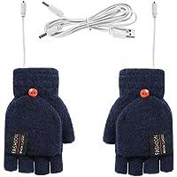 Yolispa USB Guantes con Calefacción Hombres Mujeres Invierno Manos Guantes Cálidos para Computadora Portátil de Punto Completo Y Medio Calentados sin Dedos