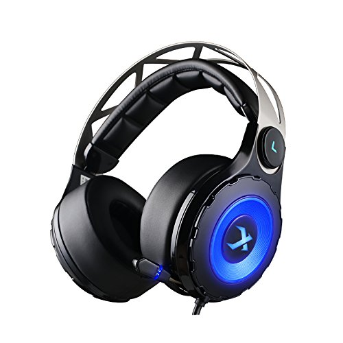 XIBERIA T18 Surround Sound Gaming Headset, Over-Ear Kopfhörer mit einklappbarem Mikrofon (Black)
