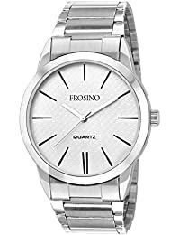 Frosino Mens Fashion Minimalist Wrist Watch Analog Deep White Dial with Stainless Steel Band - FRAC101823 (White)