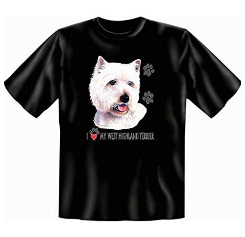 Für den Hundefreund und Tierliebhaber: West Highland Terrier T-Shirt Farbe schwarz Schwarz