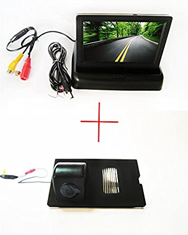 FUWAY CCD Color Car Rear View Reverse backup Camera for Land Rover Discovery 3 4 Range Rover Sport Freelander 2, with Foldable 4.3 Inch Color LCD TFT Rearview Monitor Screen Car Backup