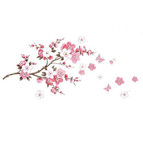 Lumanuby 1 Stück Abnehmbarer Wandaufkleber für Wohnzimmer/Schlafzimmer/Glasfenster PVC Material Kirschbaum Zweige und Blumen Wandtattoo, Schön Wanddekoration Fertige Größe 50*120cm