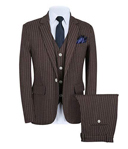 CALVINSUIT Herren Nadelstreifen 3 Stück Anzug Slim Fit Streifen Notch Revers Jacke Smoking -