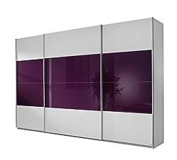 Rauch Schwebetürenschrank 3-türig Weiß Alpin, Glas Absetzung Brombeer, BxHxT 315x210x62 cm