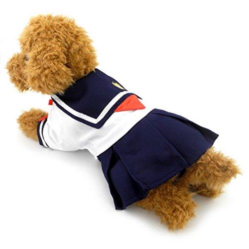 m weiblich Kleiner Hund Katze Kleider Pet Outfits Navy Captain Sailor Kostüm Puppy T-Shirts Bekleidung (Prinzessin-kostüme Für Hunde)
