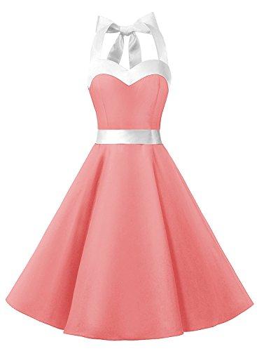 Dresstells Neckholder Rockabilly 50er Vintage Retro Kleid Petticoat Faltenrock Coral White M