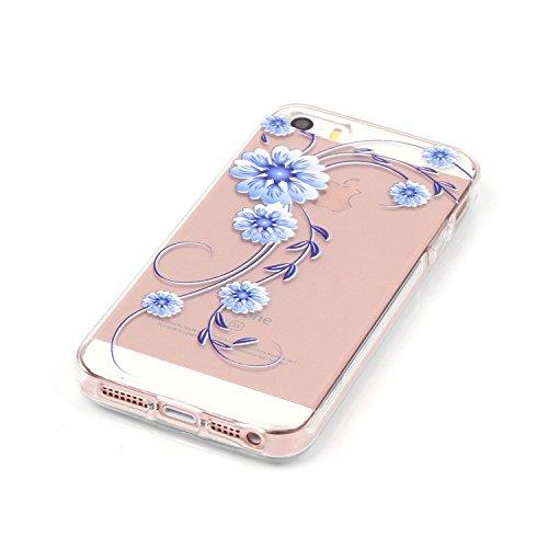 """Flexible Clair Rubber Housse pour Apple iPhone 5G/5s/SE 4.0"""", CLTPY 3D Creative Mignon Élégant Flower et Dessin Animé View Case, Premium Ultra Léger Mince Téléphone Mobile Accessories Pratique Hull de Orchidée"""