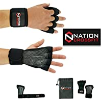 Guantes Gimnasio Hombre-Mujer, para Gym Grips con Muñequera Crossfit Pull Ups (M)
