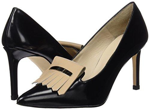 41vB381CmBL - Hannibal Laguna Consta, Zapatos de Tacón Mujer, Multicolor (Danubio Negro/Charol Beige), 40