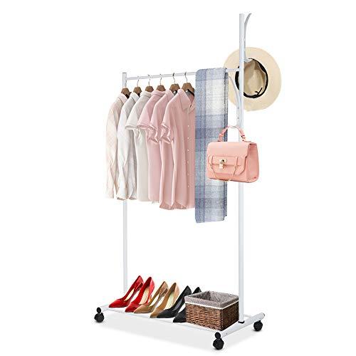 Ejoyous Garderobenständer Kleiderstange mit Schuhablage und Schalständer, Multifunktional Kleiderständer Clothing Rack Kleiderstange für Schlafzimmer, Bekleidungsgeschäft und Eingang, 80 * 45 * 160cm