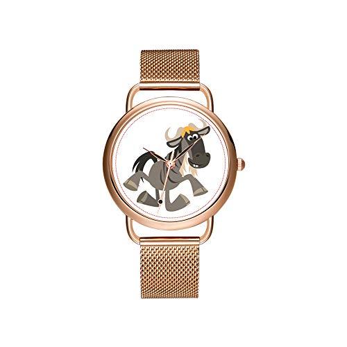 Frauen Uhren Marke Damen Mesh Gürtel ultradünne Uhr wasserdichte Uhr Quarzuhr Weihnachten Nette Karikatur Stepptanz GNU Uhr