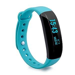 Cubot V2 Smartband Herzfrequenz Armband Smart Fitness Tracker Aktivitätstracker Schlaftracker Bluetooth 4.0 kompatibel mit Android 4.3 / IOS 8.0 und höher Smartphones Blau