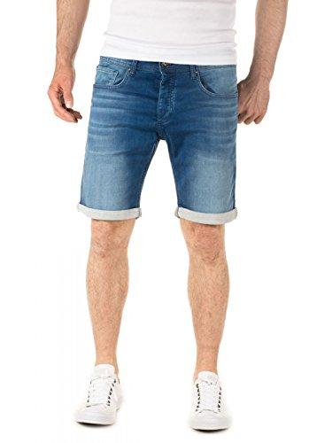 WOTEGA Jeans Shorts Herren - Sweathose in Jeans-Look Glenn - Kurze Denim blaue Hose - Maenner Sommer Bermuda, Blau (Estate Blue 194027), W31