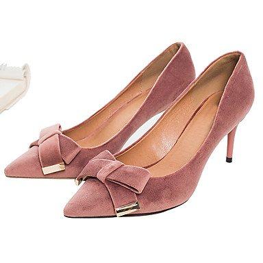 Sanmulyh Femmes Chaussures Tissu Printemps Automne Pompe Talons De Base Talon Stiletto Toe Bowknot Pour Party & Soirée Robe Rose Clair Et Noir Rose Clair
