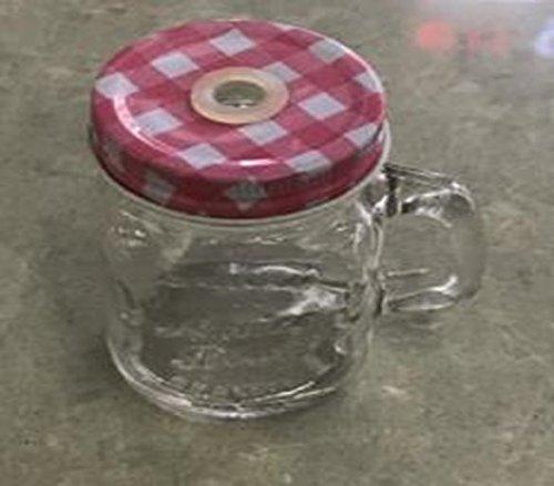 Juvale Baumwollmusselin Mason Gläser-Mason Glas Set mit Dekorativer Mini Klar Deckel und Kunststoff Trinkhalme, Glas, Verschiedene Farben, 8.8x 7x 5cm