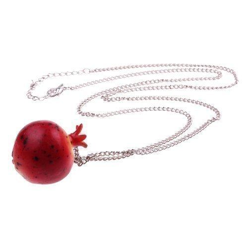 Apfel-granatapfel (Granatapfel Halskette - ca. 70cm lange Kette - Obst Anhänger Granat Apfel Grenadine Gemüse Früchte)