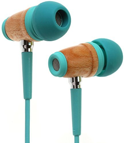 Symphonized Kinder Premium Ohrhörer Lautstärkereguliert Aus Holz Mit Mikrofon Kopfhörer Echtholz (Türkis)