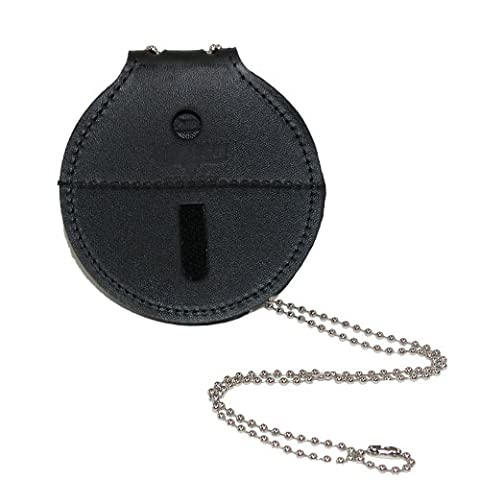 Boston Leather Leather Circle Badge Holder with Neck Chain & Clip Back, Black