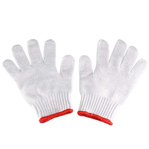 White Knit Glove (ZCHXD 10 Pairs 22cm Full Finger Elastic Wrist Cuff Knit Cotton Work Gloves Red White)