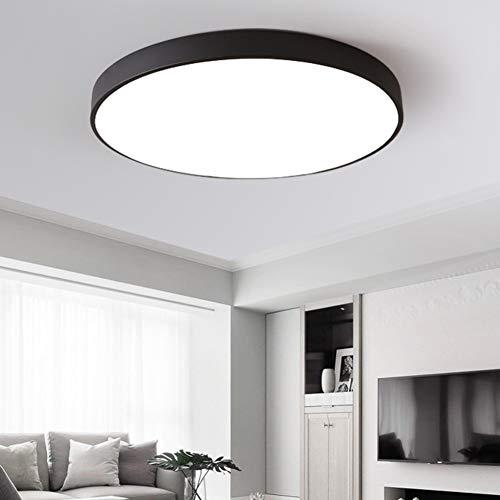 Ccsun led lampada plafoniera montaggio a incasso, modren tonda acrilico lampada plafoniera fixture per camera da letto salone-d:60cm(23.6 in)-nero 48w luce bicolore