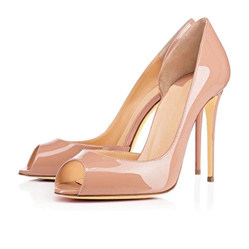 EDEFS Damen Peep Toe Pumps High Heel Stiletto Absatz D'orsay Hochzeit Schuhe Beige