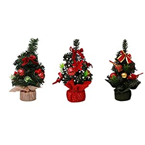 BESTOYARD 3 Piezas de Mesa Mini árboles de Navidad con Bola de Navidad Flor de Navidad Flor de Pascua Adornos…