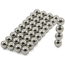 First4magnets F10SP-40 N42 Neodym Kugel Magneten, 1,4 kg ziehen, Packung mit 40, Metall, Durchmesser 10 mm, silber, 25 x 10 x 3 cm