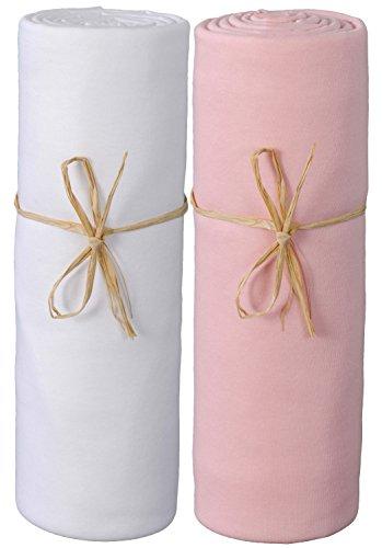 P'tit Basile - Lot de 2 Draps housse bébé 70x140 cm, Blanc/Rose. Jersey de coton Bio. Extensibles avec élastique tout autour, Coton peigné de qualité supérieure