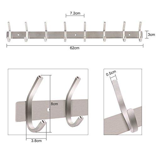 Dripex Coat Hook Rack Wall Mounted 304 Stainless Steel Hanger Heavy Duty...