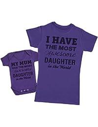 Awesome Daughter - Ensemble Mère Bébé Cadeau - Femme T Shirt & bébé bodys
