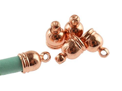 10 Endkappen aus Messing für 4 mm Bänder in peachy roségoldfarben von Vintageparts, DIY-Schmuck (Endkappen Machen Für Schmuck)