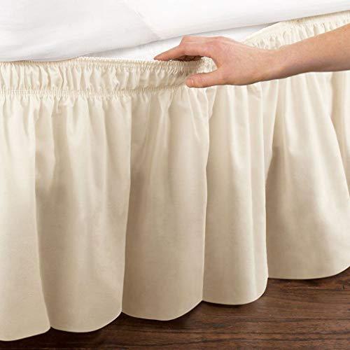 Pliegues de cama elásticos alrededor de la falda de la cama, volantes de polvo plisado Cubre Canapé Medidas canapé Faldón de volantes con banda Cubre unda de somier Colcha-Beige-REINA:150*200Cm
