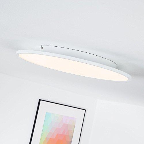 LED Panel 30W Deckenleuchte, Ø 45 cm rund, dimmbar mit Lichtschalter, 3000 Lumen, 3000K warmweiß, Metall / Kunststoff, weiß 45 Lumen-led
