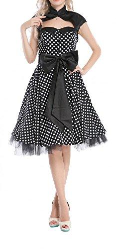 Petticoat Kleid ~ Stil der 50er Jahre mit Polka-Dots Schwarz