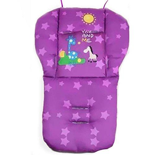 Natural Home Universal Kinderwagen Sitzkissen Baby Sitzauflage Baumwolle, Buggy Auflage (Violett)